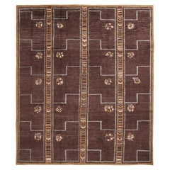 Scandinavian Style Inspired Hand Knotted Contemporary Geometric Blue and Brown