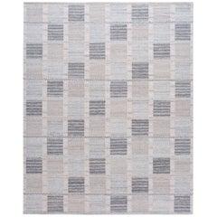Scandinavian Style Kilim, Accent Rug in Gray Geometric Pattern