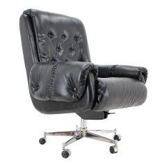Scandinavian style leather office swivel armchairs, 1970s