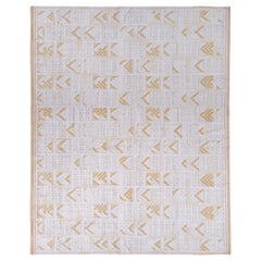 Scandinavian Style Pile Rug Swedish White and Gold-Brown Pattern by Rug & Kilim