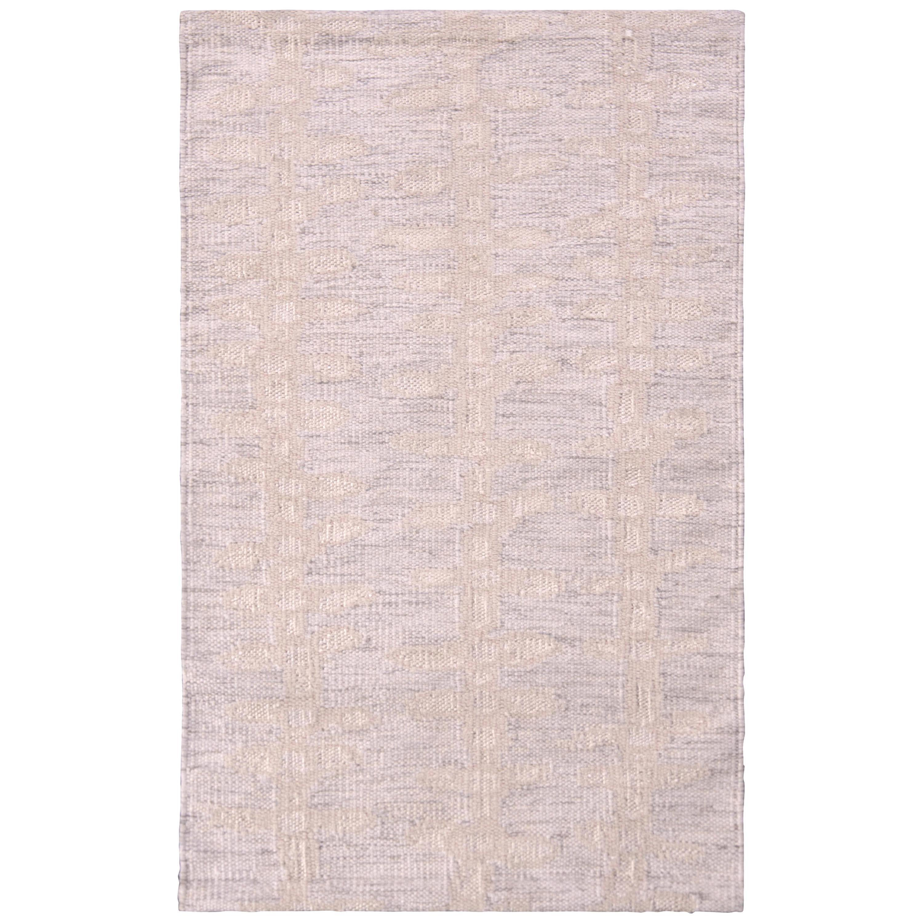 Rug & Kilim's Scandinavian Style Rug Geometric Beige and Silver Gray Pattern