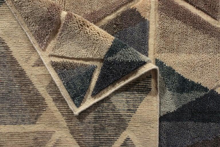 Hand-Knotted Rug & Kilim's Scandinavian Style Rug Geometric Silver-Gray Blue Custom For Sale
