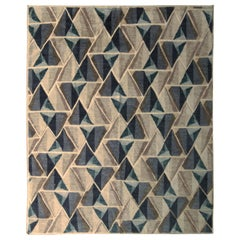 Scandinavian Style Rug Geometric Silver-Gray Blue Custom by Rug & Kilim