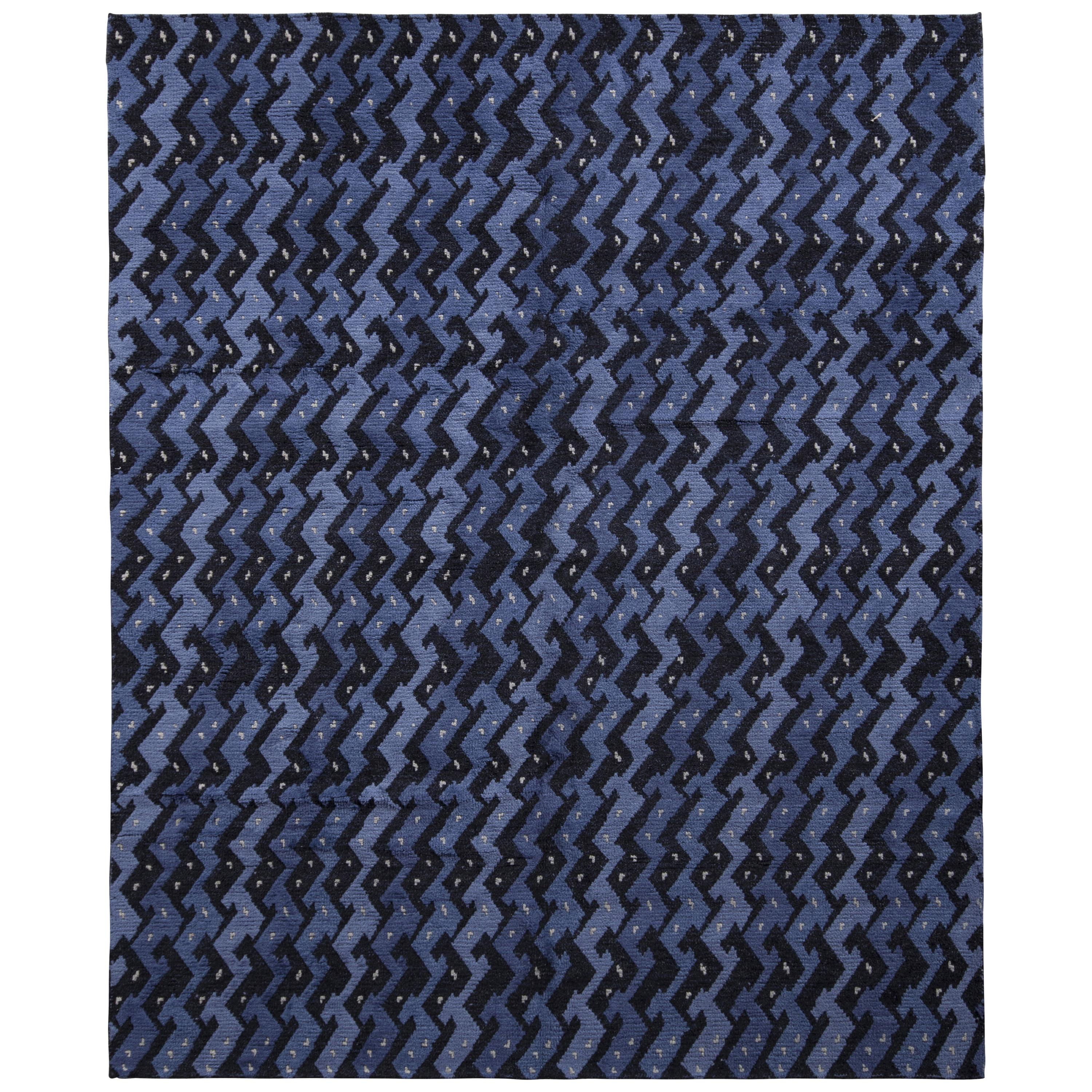 Rug & Kilim's Scandinavian Style Rug in Blue and Black Geometric Pattern