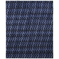 Scandinavian Style Rug in Blue and Black Geometric Pattern by Rug & Kilim
