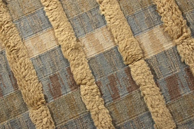 Indian Rug & Kilim's Scandinavian Style Rug Striped High-Low Beige Blue Pattern For Sale