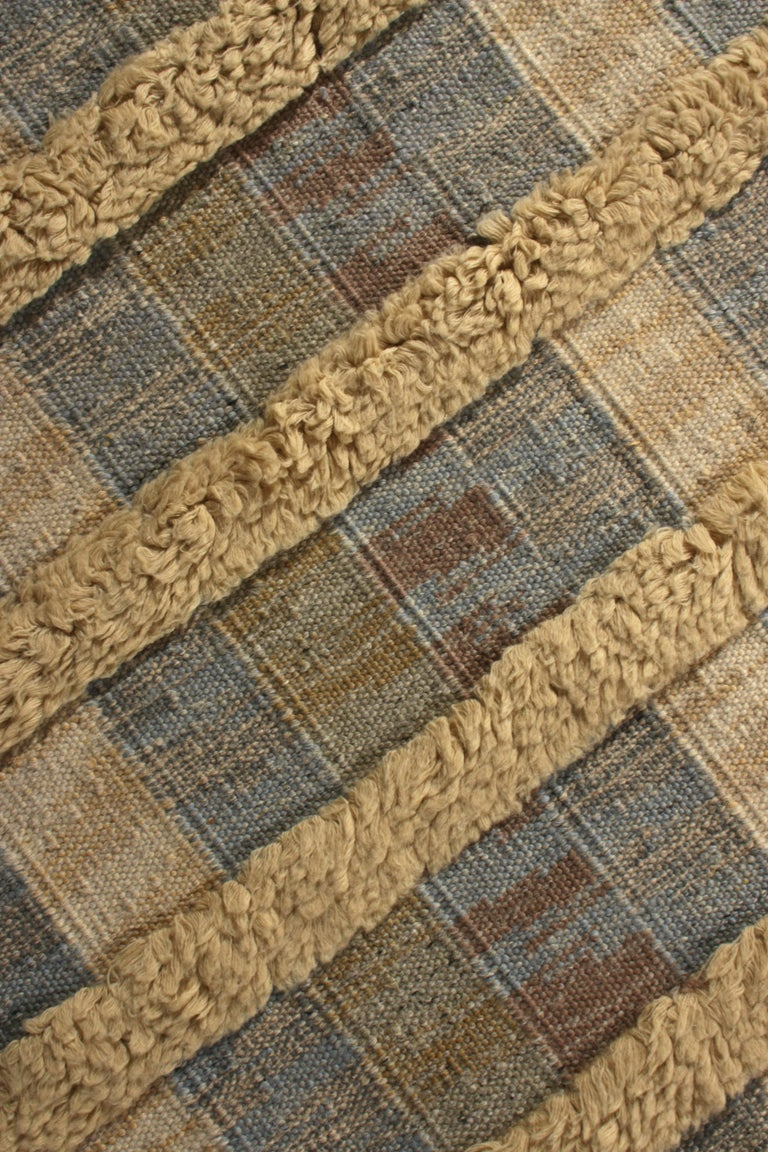 Hand-Woven Rug & Kilim's Scandinavian Style Rug Striped High-Low Beige Blue Pattern For Sale