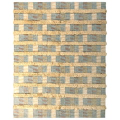 Scandinavian Style Rug Striped High-Low Beige Blue Pattern by Rug & Kilim