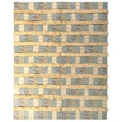 Rug & Kilim's Scandinavian Style Rug Striped High-Low Beige Blue Pattern