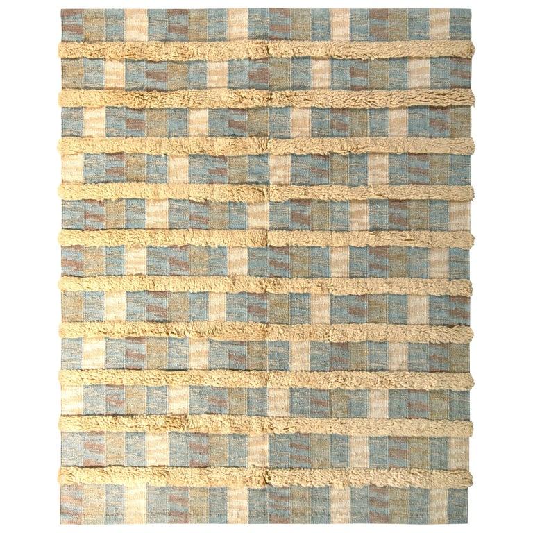 Rug & Kilim's Scandinavian Style Rug Striped High-Low Beige Blue Pattern For Sale