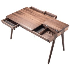 Scandinavian Style Secretary Desk in Walnut or Oak