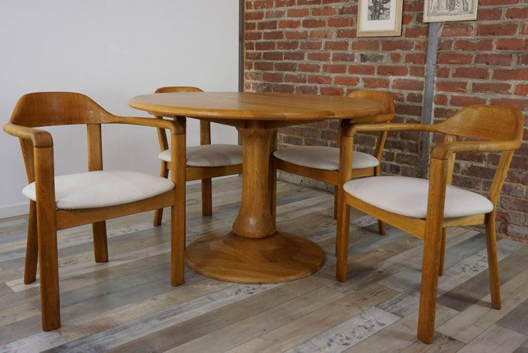 Scandinavian Modern Scandinavian Style Solid Oak Dining Set For Sale