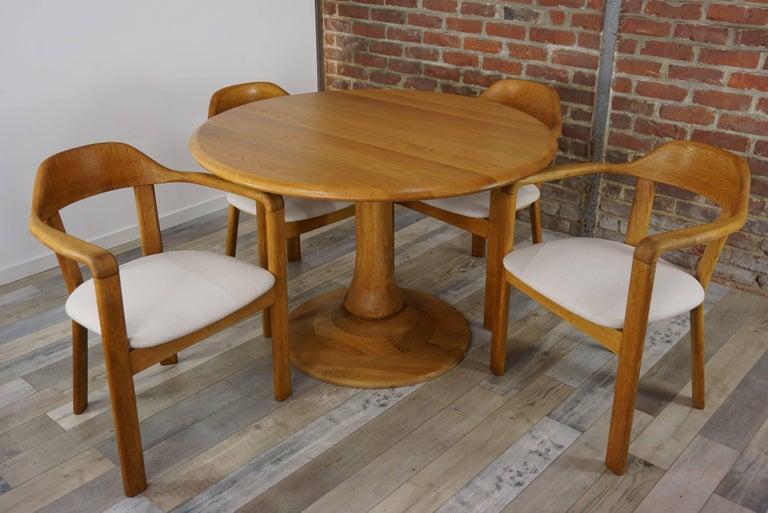 European Scandinavian Style Solid Oak Dining Set For Sale