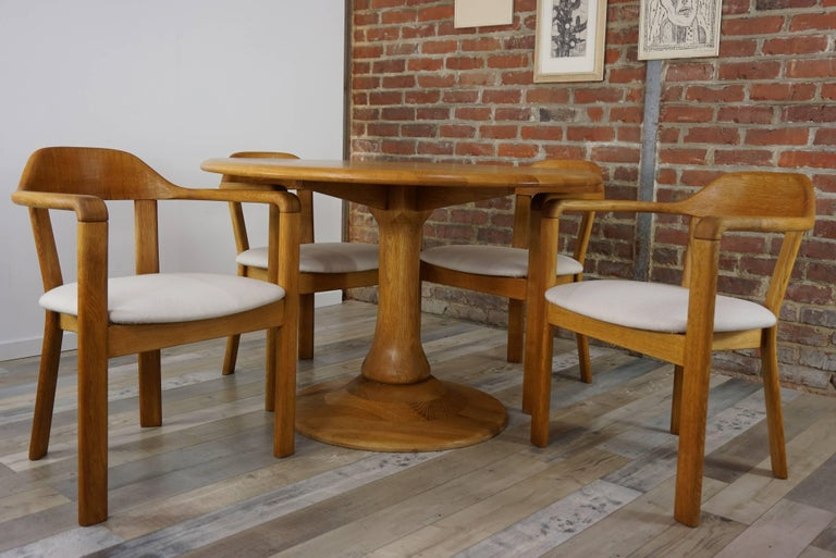Scandinavian Style Solid Oak Dining Set In Excellent Condition For Sale In Halluin, FR