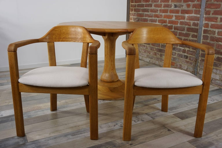 20th Century Scandinavian Style Solid Oak Dining Set For Sale