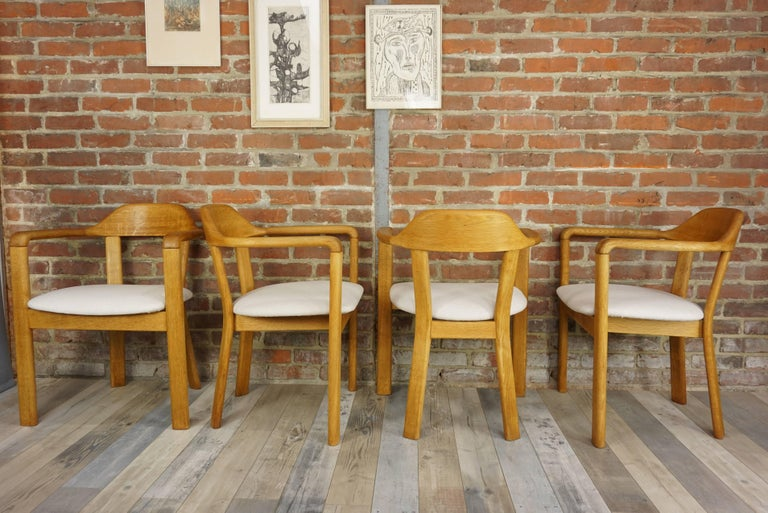 Fabric Scandinavian Style Solid Oak Dining Set For Sale