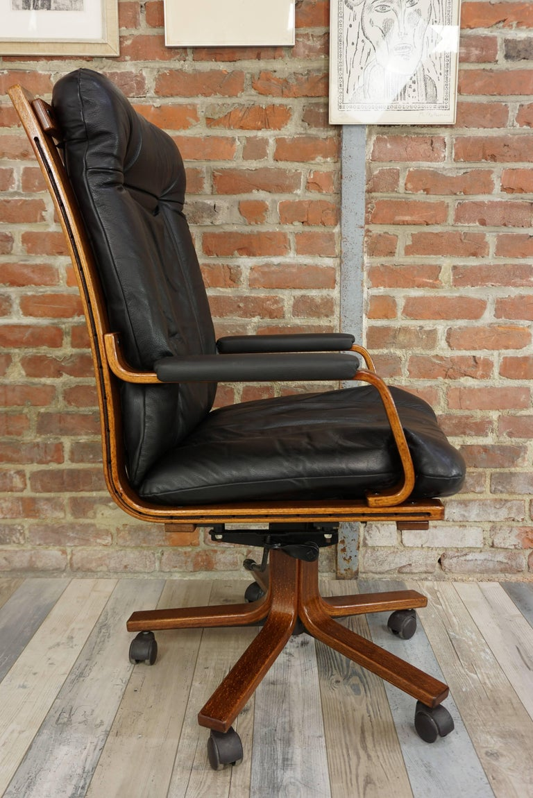 Scandinavian Style Wooden And Black Leather Swivel Office
