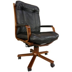 Scandinavian Style Wooden and Black Leather Swivel Office Armchair