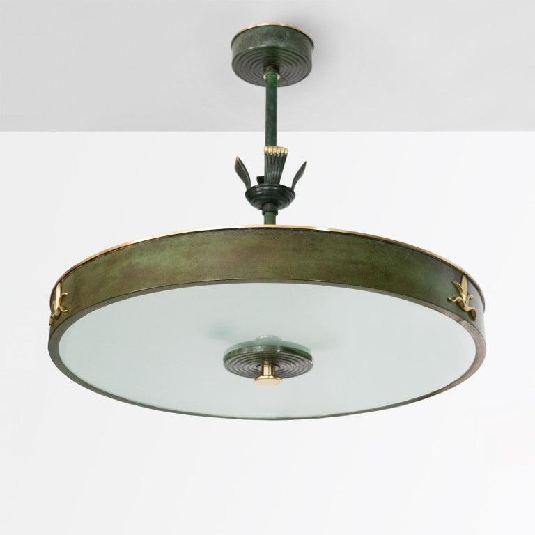 "Scandinavian Modern Scandinavian, Swedish Art Deco Patinated Brass ""Lilly"" Pendant Made by Bohlmarks For Sale"