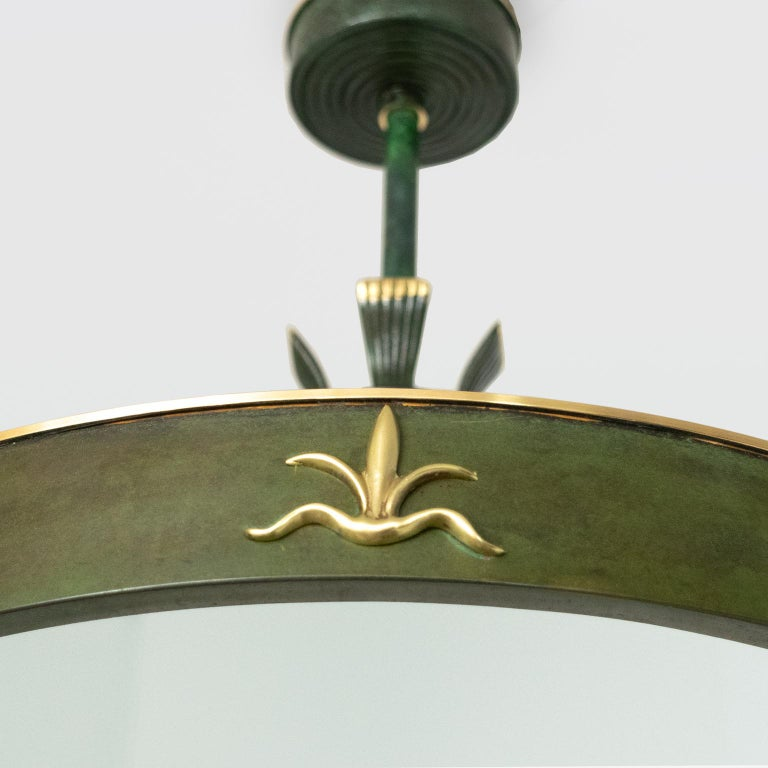"""Scandinavian, Swedish Art Deco Patinated Brass """"Lilly"""" Pendant Made by Bohlmarks For Sale 2"""