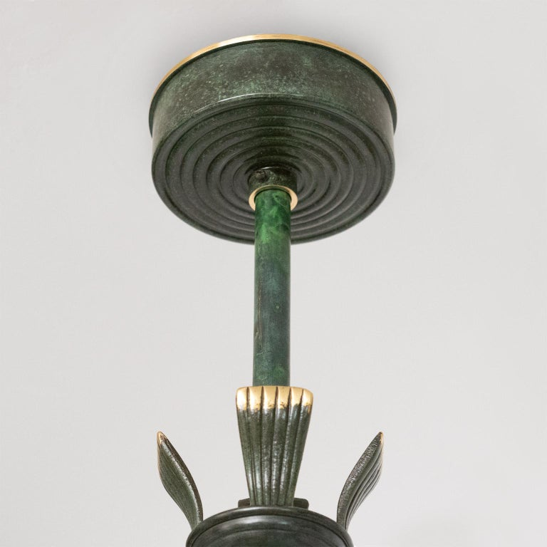 """Scandinavian, Swedish Art Deco Patinated Brass """"Lilly"""" Pendant Made by Bohlmarks For Sale 4"""