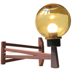 Scandinavian Swing Arm Wall Light in Teak and Smoke Glass, 1960s