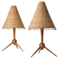 Scandinavian Table Lamps, 1960s, Teak and Rattan