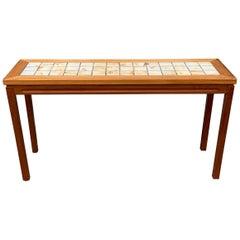 Scandinavian Teak and Tile Console Table