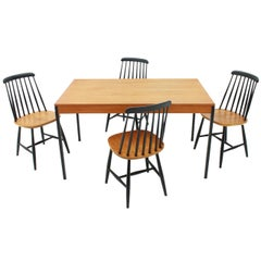 Scandinavian Teak Dining Room Suite Table and Chairs by Nesto Sweden 1950s