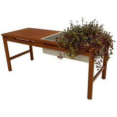 Scandinavian Teak and Enameled Metal Planter Table, 1960s, Denmark
