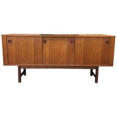 Scandinavian Teak Midcentury Sideboard with Sliding Doors