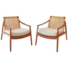 Scandinavian Teak Pair of Lounge Chairs by Hartmut Lohmeyer, 1960s
