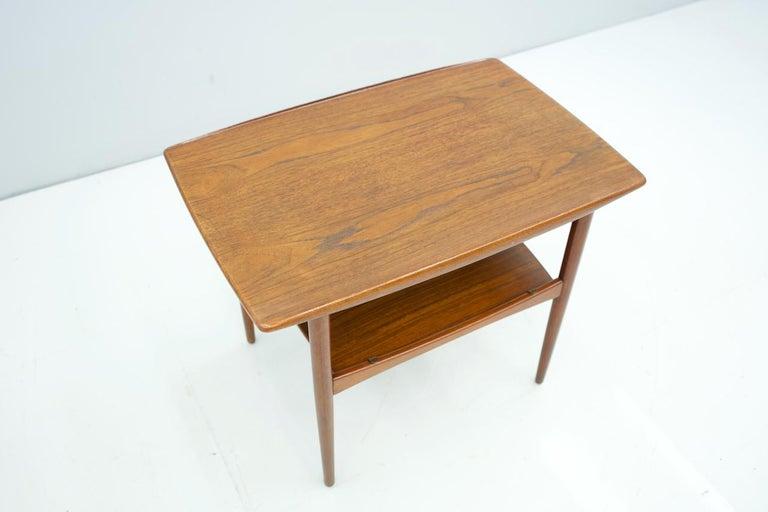 Brass Scandinavian Teak Side Table, 1960s For Sale