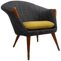 Scandinavian Teak Wool and Brass Lounge Chair 1950s New Upholstery!