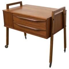 Scandinavian Teakwood Wheeled Side Table or End Table, Midcentury