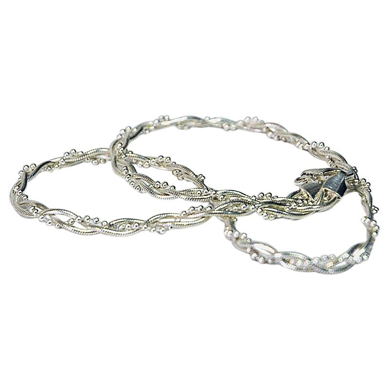 Scandinavian Twisted Vintage Silver Necklace, 1960s