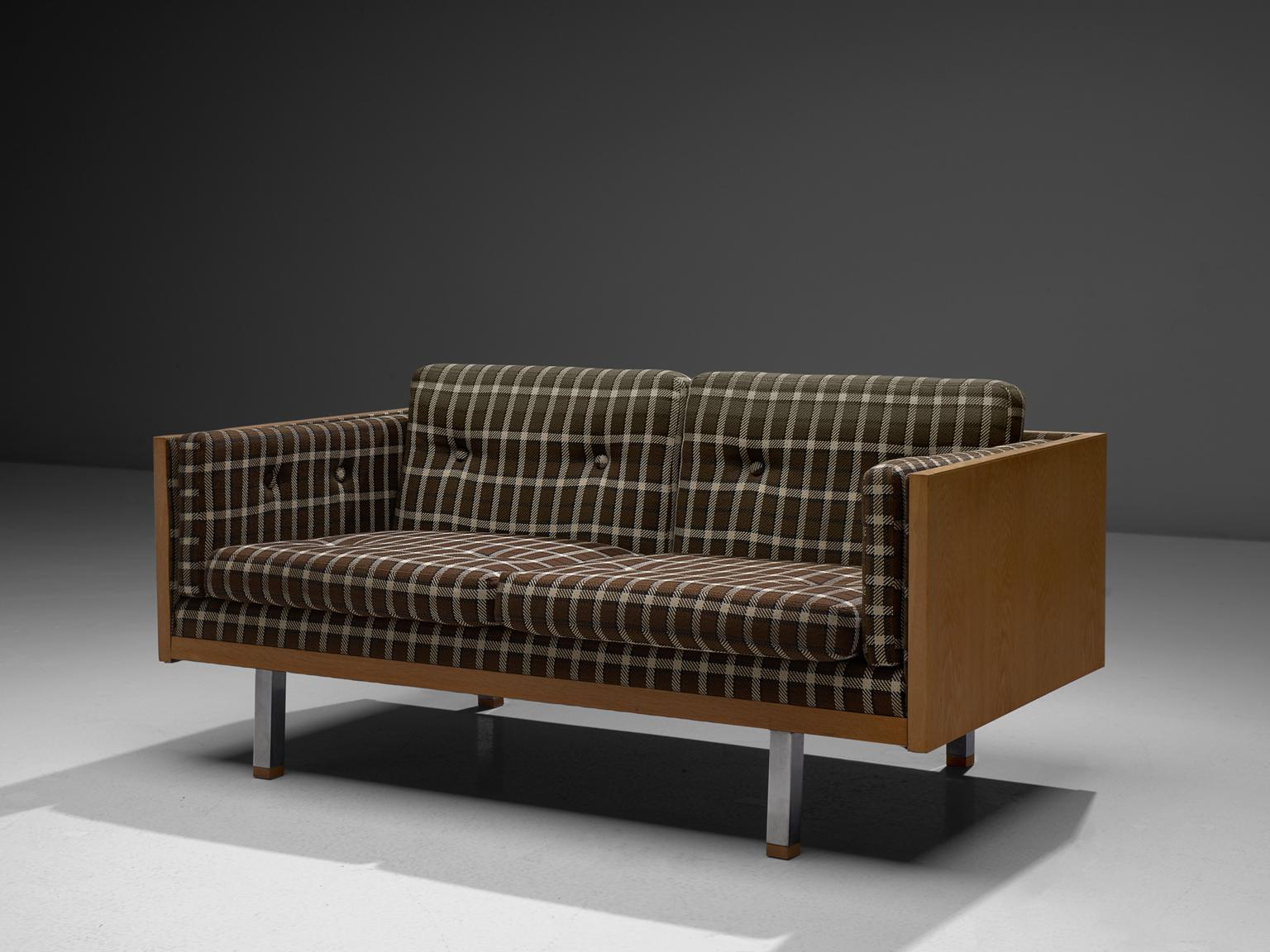 Scandinavian Two Seat Sofa In Oak And Checkered Upholstery