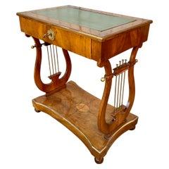 Scandinavian Veneered Biedermeier Writing Desk with Lyres