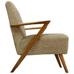 Scandinavian Vintage Elm Lounge Chair in style of Kurt Olsen, Sculptural, 1950s