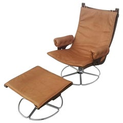 Scandinavian Vintage Mid Century Lounge Chair and Ottoman