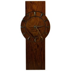 Scandinavian Wall Clock in Rosewood and Brass, 1960s