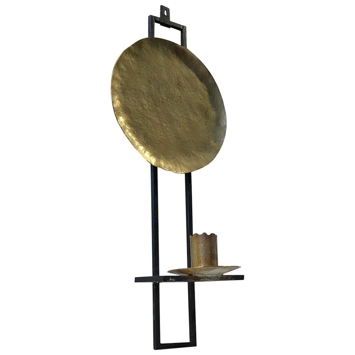 Scandinavian Wall Hung Candleholder in Brass and Wrought Iron, 1950s