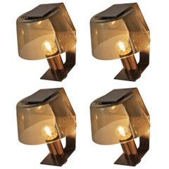 Scandinavian Wall Lights in Metal, Copper and Smoked Glass