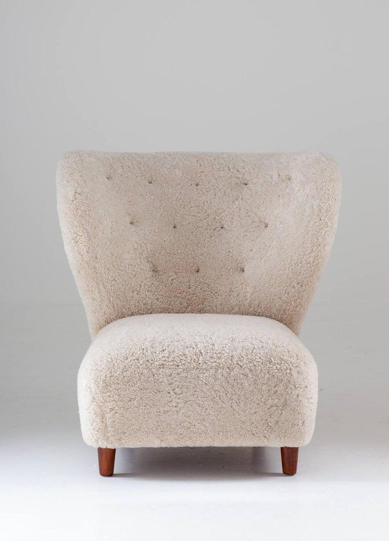 Danish Scandinavian Wingback Lounge Chairs in Sheepskin, 1930s For Sale