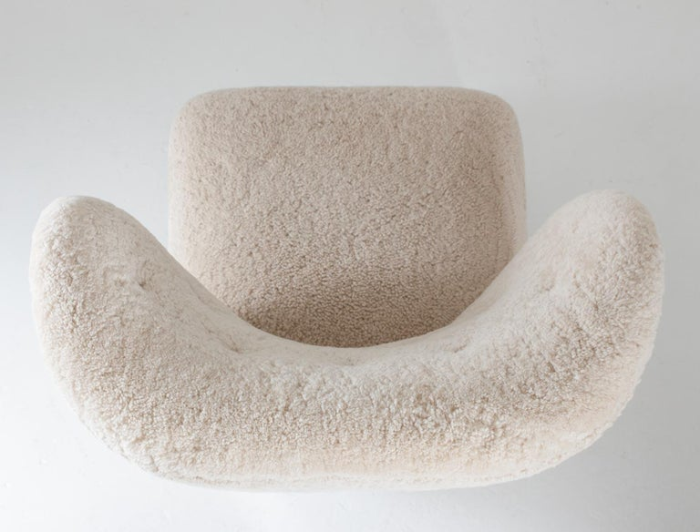 Scandinavian Wingback Lounge Chairs in Sheepskin, 1930s For Sale 3