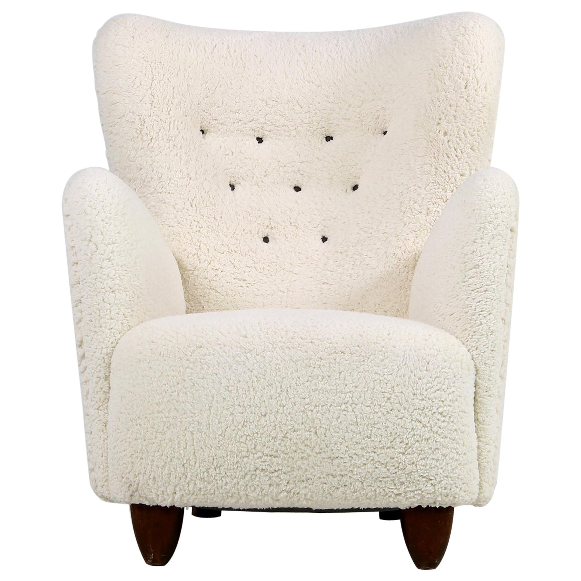Danish Wingback Lounge Chair 1950 Teddy Fur & Leather, Sheepskin Made in Denmark