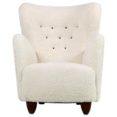 Danish Wingback Lounge Chair 1950 Teddy Fur & Leather, Sheepskin Made in Denmark