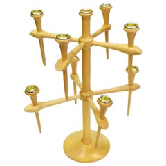 Scandinavian Wooden Candelabra with 9 Arms, 1970s