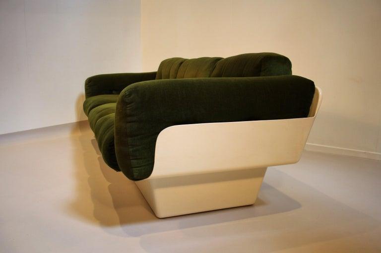 Velvet Scandinavian Fiberglass Sofa from Eero Aarnio for Asko, 1970s
