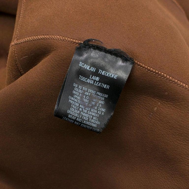 Scanlan Theodore Russet Shearling Fur Hooded Jacket ONE